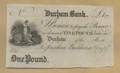 ENGLAND - Durham  £1  1815-30?  Uncirculated  ( Banknotes )