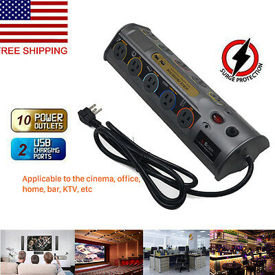 Power Broad Smart Socket 10Outlet + 2 Fast USB Port 6900 Joules Surge Protector