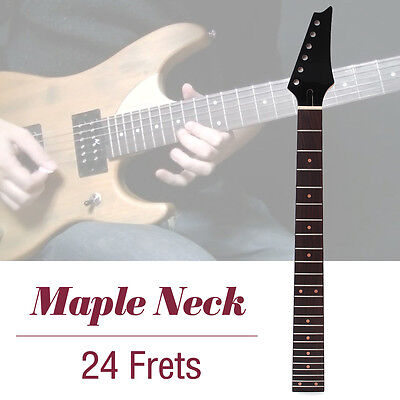 Electric Guitar Neck Replacement Guitar Parts Flame Maple Wood Fretboard 24 Fret