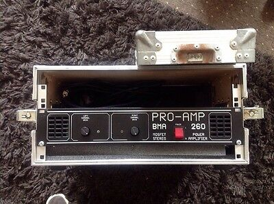 Mosfet Stereo Pro Amp Bma 260 Power Amplifier Dj Amp & Flight Case