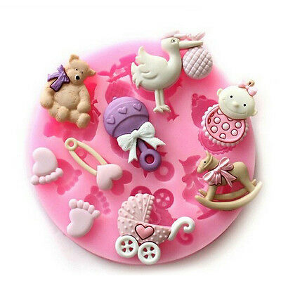 Baby Shower Newborn Silicone Mould Baking Cake Cupcake Topper Icing Decoration