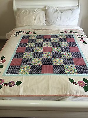 "Handmade quilt size 55"" x 57.5"" (floral borders) with applique"