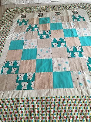 "Handmade quilt ""koalas"" with some applique  size 47"" x 55"""
