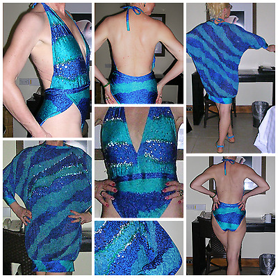80's silhouette defining sequined jersey azure print swimming outfit by GOTEX SM