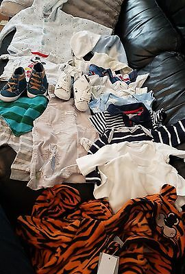 baby boys clothes bundle 0 - 3 months shoes vests hats  suits jacket used