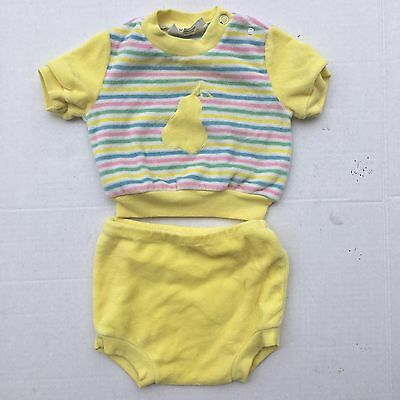 Vintage Pear Crop Top And Bloomers 12 Months Velour High Waist