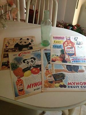 Vintage Mynor Cordial Green Bottle With Vintage Adverts Lot
