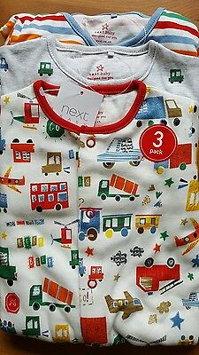 Next 3 Pack Red Buses   Sleepsuits  9-12 Months