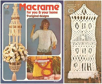 "Vintage 1979 Macrame Pattern Book ""macrame For You & Your Home"" 9 Projects"