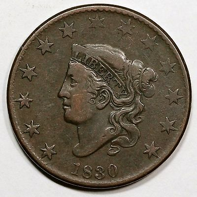 1830 N-7 R-3 Matron or Coronet Head Large Cent Coin 1c