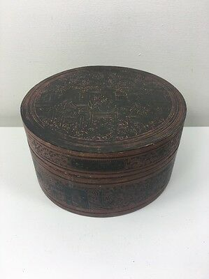Vintage Chinese Lacquered Round Box - Black & Red - Sewing Trinket Jewellery
