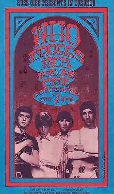 The WHO, Toronto 1968, Gary Grimshaw handbill, Immaculate, Russ Gibb Presents