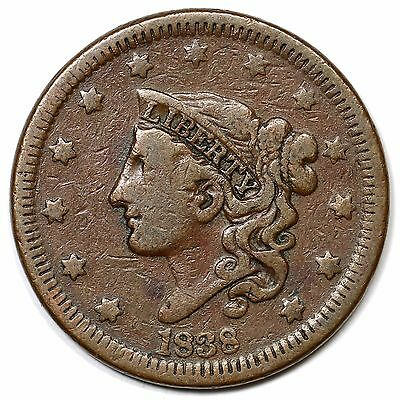 1838 N-15 R-5- Matron or Coronet Head Large Cent Coin 1c