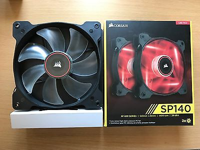 Corsair SP140 Air Red LED High Pressure 140mm Case Fan Twin Pack