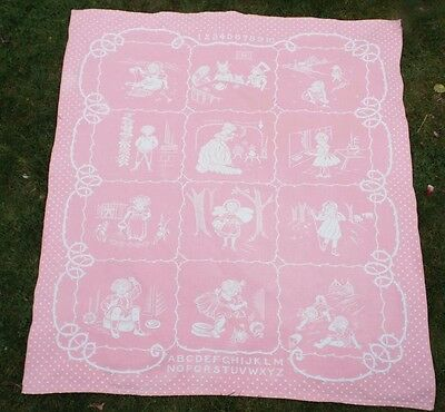 Vintage 1930's Nursery Blanket Cot Cover Or Throw For Baby Girl Or Christening