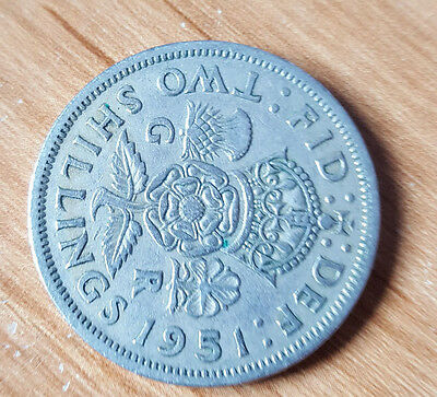 1951 Two shilling coin, florin. George VI. circulated