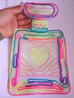 extra large sequin patches perfume bottle patch applique iron on sew motif UK