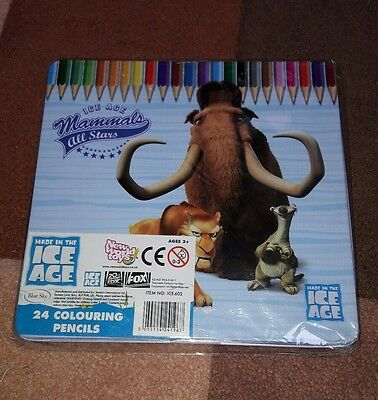 Ice age colouring pencils tin manny sid diego new