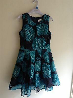 BRAND NEW Girls Party Dress, Aqua/black Size 10