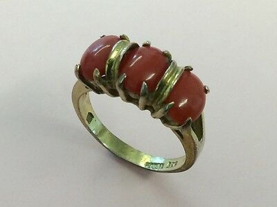 Vintage Gold On Silver Coral Ring 1950