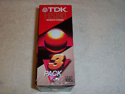 TDK HS180 3 Hour Blank VHS Tapes / Video Cassettes - NEW / Sealed x 3