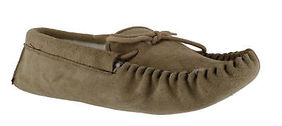 Mens Suede Moccasins Real Wool Lined Moccs Slippers