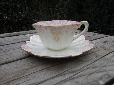 Antique Foley Wileman Pre Shelley Ivy Leaf  Empire Shape 5042 Pink Cup & Saucer