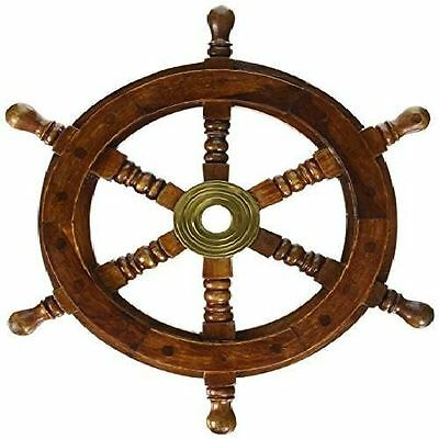 """12"""" Pirate Ship Steering Wheel Nautical Decor Wooden Fishing Boat Handcrafted"""