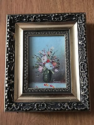 Vintage Miniature Oil Painting Still Life Flowers Picture Gold Frame Federick