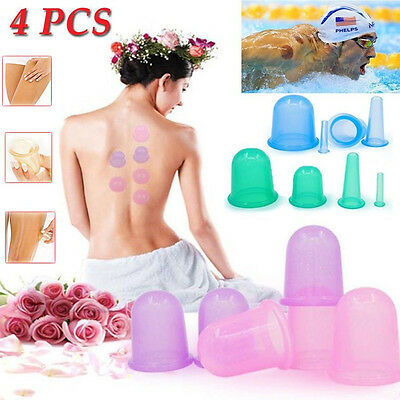 4Pcs Silicone Vacuum Massage Body and Facial Cups Set Anti Cellulite Cupping Cup