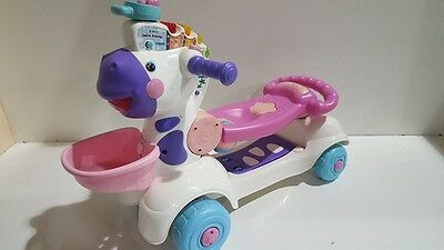 Vtech 3 In 1 Zebra Scooter Pink Ride On Learning Musical Baby Toy