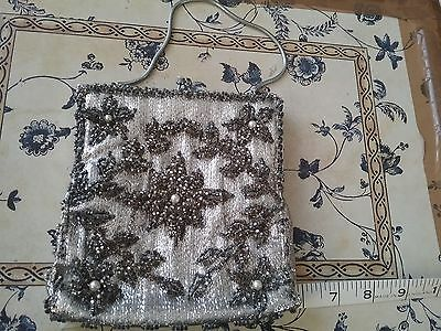 Vintage Silver Beaded & Pearl Evening Bag