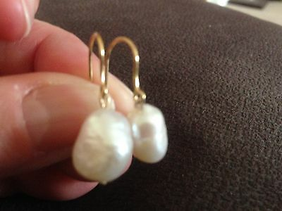 9 ct yellow gold Baroque Pearl Earrings, not scrap,Handmade,New,Valentines gift