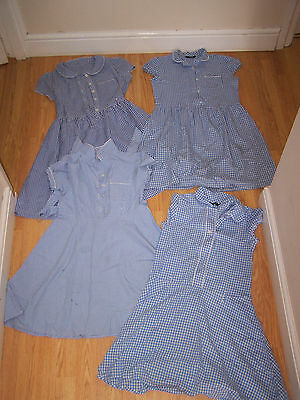 Gingham School Dresses Bundle 9-10 Blue