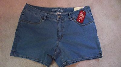 "Women Faded Glory Stretch Arctic Denim Chino Short*Inseam 4.5"" NWT Free Shipping"