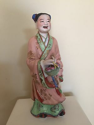 Chinese Made Exquisitely Hand Painted Figurine Holding Basket