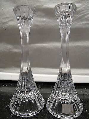 "Mikasa Vintage Pair Park Lane Crystal Candlesticks Candle Holders 8"" Exc Cond"