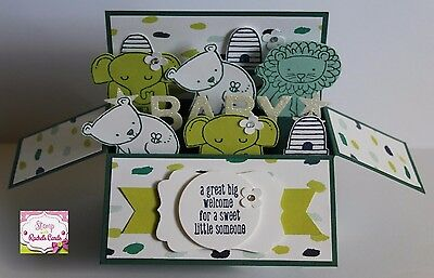 Handmade card, card in a box, Zoo Animals Neutral Baby card, New Baby,stampin up