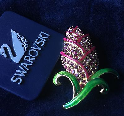 Authentic Swan Signed Swarovski Exotic Flower Pin Brooch New