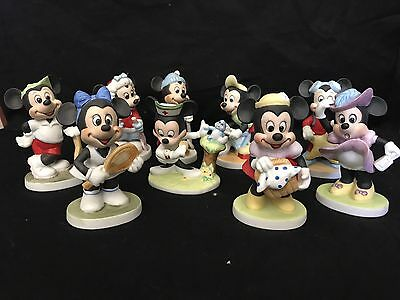 Walt Disney Productions Mickey and Minnie Mouse Porcelain Figurine Assortment