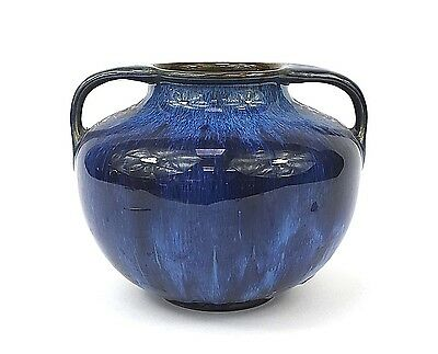 Bourne Denby Danesby Ware Twin Handled Vase in Electric Blue Drip Glaze c1925