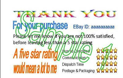 Thank You For Your Purchase  Feedback DSR Reminder Cards 50 Printing