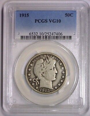 1915 Barber Silver Half KEY DATE Low Mintage ~ Very Good PCGS VG10 VG 10