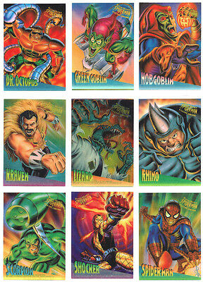 1995 Spider-Man Premiere Fleer Ultra Masterpieces Clearchrome 10 Card Chase Set