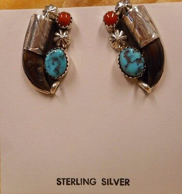 Earrings Native American Sterling Silver Turquoise Coral By Navajo E Hawthorne