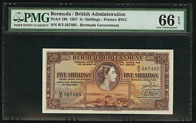 5 Shillings 1957 Bermuda Government PMG 66 EPQ Gem Uncirculated