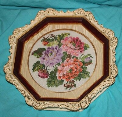 Vtg Elegant Cross Stitch Embroidery Flowers Tapestry Art Beautiful Frame LOOK