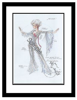 """Classic Cher Costume Sketch by Hugh Durrant Matted 8""""x10"""" ~Rare~Collectors Item!"""