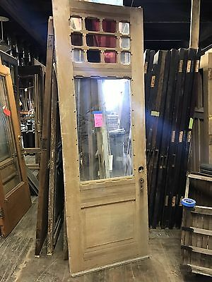 "Antique Queen Anne Door Ash Or Pine Wood. 35.5"" X 95"" House Salvage old door"