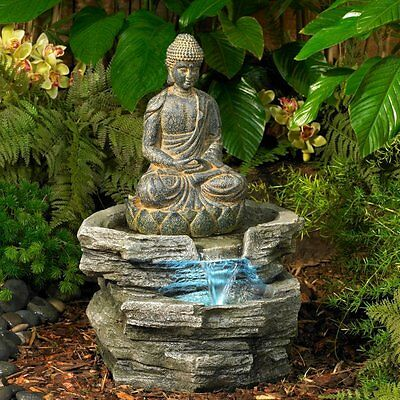 Water Fountain Indoor Outdoor Buddha LED Lighted Serene Zen Garden Decor New